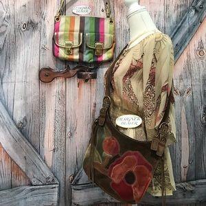 COACH 2 PC Poppies 9257 & Legacy Stripe 19025 Bags